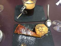 Pear tarte dessert with port wine sorbet.