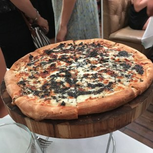 Pizza with black truffle at Bagatelle.