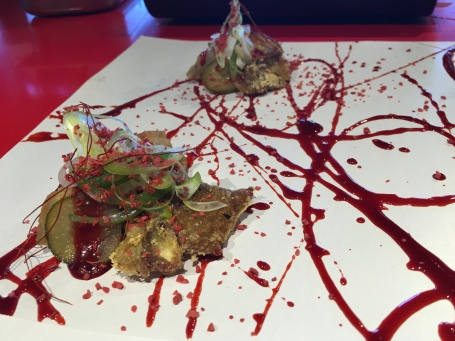 Pekinese Dumplings: Crunchy pig's ear and strawberry hoisin sauce, aioli and gherkins at Street-Xo.
